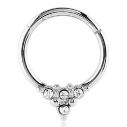 Surgical Steel Four Jewelled Hinged Septum Ring Buy Jewellery