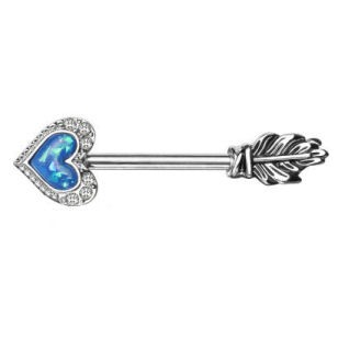 Surgical Steel Glitter Heart Opal Arrow Nipple Bar - Blue