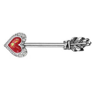 Surgical Steel Glitter Heart Opal Arrow Nipple Bar - Red