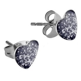 Surgical Steel Heart Glitterline Ear Studs - Black
