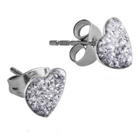 5ee87878e Surgical Steel Heart Glitterline Ear Studs - Crystal