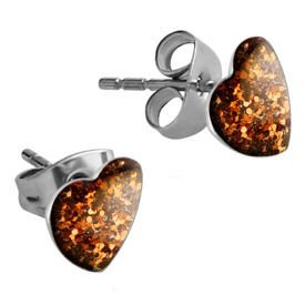 Surgical Steel Heart Glitterline Ear Studs - Padparadscha