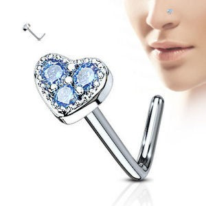 Surgical Steel Heart Nose Stud - Aqua