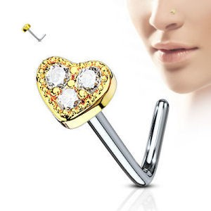 Surgical Steel Heart Nose Stud - Gold