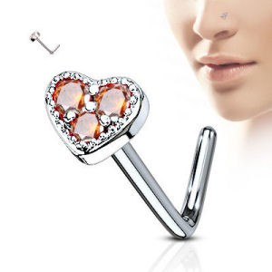 Surgical Steel Heart Nose Stud - Red