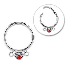 Surgical Steel Heart Set Jewelled Hinged Segment Ring - Red