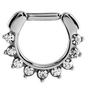 Surgical Steel Hinged Septum Clicker Ring - Crystal