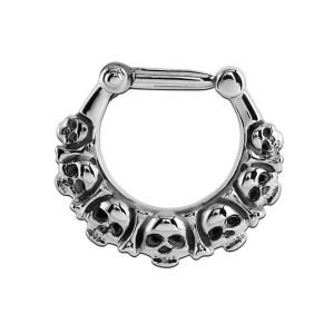 Surgical Steel Hinged Septum Clicker Ring - Skulls
