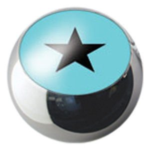 Surgical Steel Ikon Clip-In Ball - Black Star on Light Blue