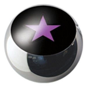 Surgical Steel Ikon Clip-In Ball - Purple Star on Black