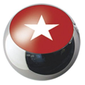 Surgical Steel Ikon Threaded Balls - White Star on Red