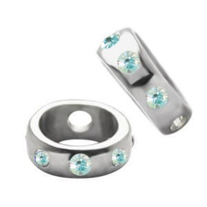 Surgical Steel Jewelled Ball Shields - Light Blue