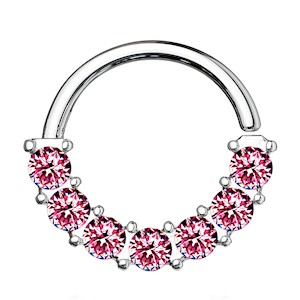 Surgical Steel Jewelled Bendable Ring - Pink