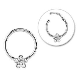 Surgical Steel Jewelled Flower Hinged Septum Ring - Crystal