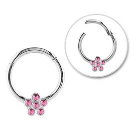 Surgical Steel Jewelled Flower Hinged Septum Ring - Pink