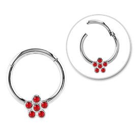 Surgical Steel Jewelled Flower Hinged Septum Ring - Red