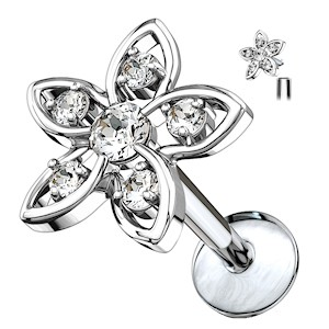 Surgical Steel Jewelled Flower Internally Threaded Stud - Clear