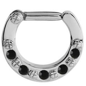 Surgical Steel Jewelled Hinged Septum Clicker Ring - Black