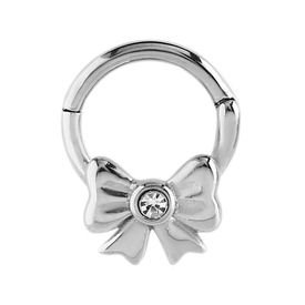 Surgical Steel Jewelled Hinged Septum Clicker Ring Crystal Bow