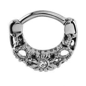 Surgical Steel Jewelled Hinged Septum Clicker Ring - Crystal