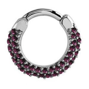 Surgical Steel Jewelled Hinged Septum Clicker Ring - Purple