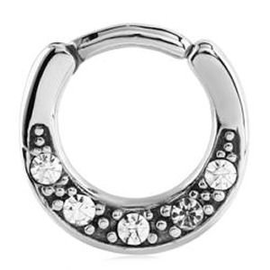 Surgical Steel Jewelled Septum Clicker Ring - Crystal