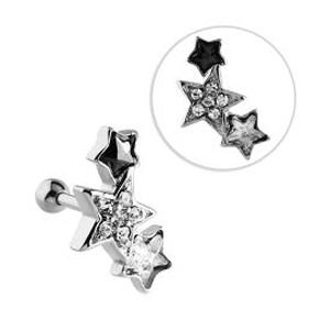 Surgical Steel Jewelled Tragus Barbell Stud- Black & Crystal Stars