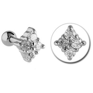 Surgical Steel Jewelled Tragus Barbell Stud- Crystal