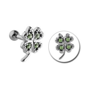 Surgical Steel Jewelled Tragus Barbell - Green Clover
