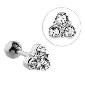 Surgical Steel Jewelled Trinity Barbell - Crystal
