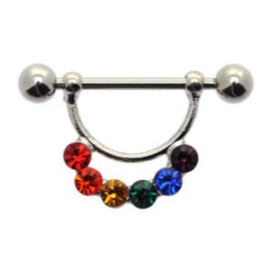 Surgical Steel  Nipple Sparklers - Rainbow