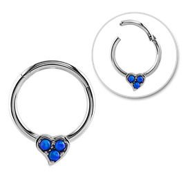 Surgical Steel Opal Jewelled Hinged Septum Ring - Blue