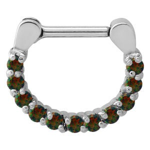Surgical Steel Opal Jewelled Septum Ring - Black