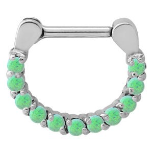 Surgical Steel Opal Jewelled Septum Ring - Green