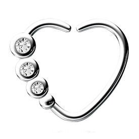 Surgical Steel Open Heart Seamless Ring - Crystal
