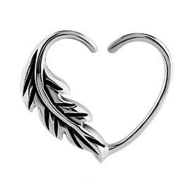 Surgical Steel Open Heart Seamless Ring - Right Feather