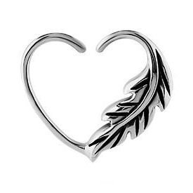 Surgical Steel Open Heart Seamless Ring – Left Feather