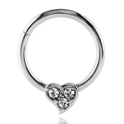 Surgical Steel Jewelled Heart Hinged Septum Ring