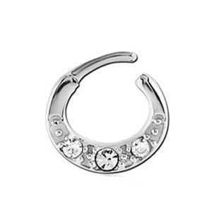 Surgical Steel Round Jewelled Hinged Septum Clicker Ring - Crystal
