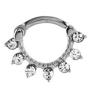 Surgical Steel Round Jewelled Septum Clicker Ring - Crystal