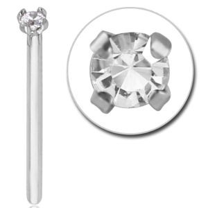 Surgical Steel Straight Crystal Jewelled 15mm Nose Stud