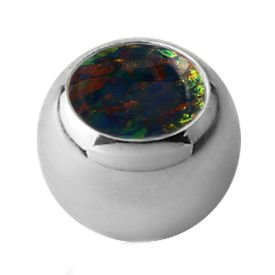 Surgical Steel Synthetic Opal Jewelled Threaded Ball - Black