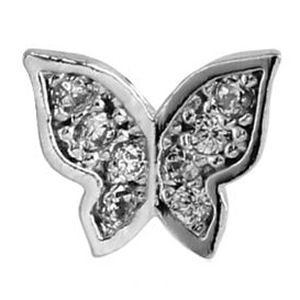 Surgical Steel Threaded Jewelled Butterfly Attachment - Crystal