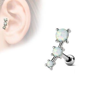 Surgical Steel Tragus & Cartilage Stud - Opal White