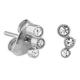 Surgical Steel Triple Jewelled Ear Studs - Crystal