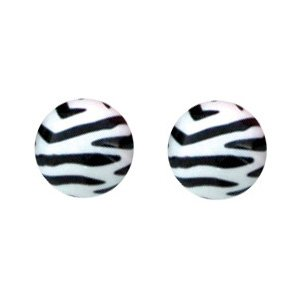 Tiger Spiral Stud Earrings - White
