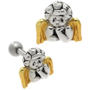 Gold & Sterling Silver Tragus Bar Stud- Thinking Angel