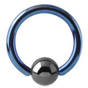 Titanium Ball Closure Ring - Dark Blue