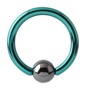 Titanium Ball Closure Ring - Green