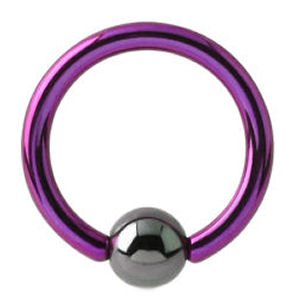 Titanium Ball Closure Ring - Purple